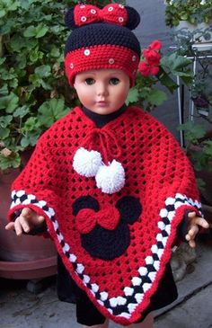 Crocheted Minnie Mouse Poncho & Hat In Red Minnie Poncho & Hat In Red by craftyjane on Etsy Crochet Baby Poncho, Crochet Poncho Patterns, Crochet Kids Hats, Crochet Baby Clothes, Crochet Girls, Crochet Beanie, Baby Knitting, Hand Crochet, Girl Doll Clothes
