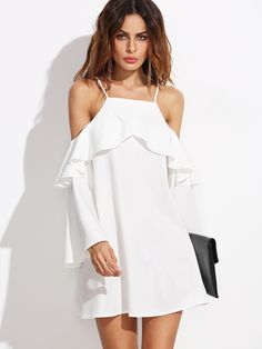 Online shopping for White Ruffle Trim Cold Shoulder Dress from a great selection of women's fashion clothing & more at MakeMeChic.COM.