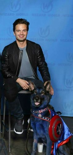 Sebastian with the Canine Captain America at Wizard World Philly.