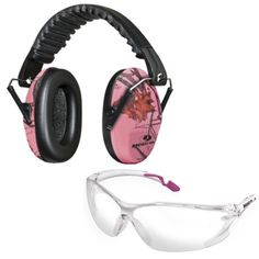 This set of women's ear muffs and glasses from Mossy Oak feature an adjustable nose piece and ratcheting temples for comfortable adjustability. This hunting gear exceeds ANSI high impact standards, designed to protect your ears and eyes.