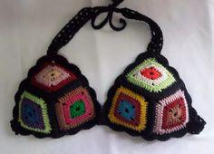 Bikinis Crochet, Crochet Bra, Crochet Bikini Pattern, Crochet Halter Tops, Crochet Woman, Love Crochet, Crochet Granny, Crochet Crafts, Crochet Clothes