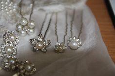 Wedding Hair Pins Pearl and Crystal Rhinestone by mylittlebride, $20.00