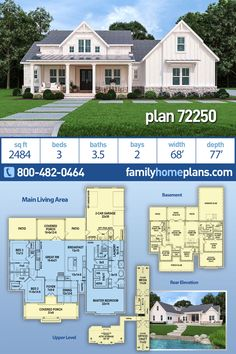 One-Story Style House Plan 72250 with 3 Bed, 4 Bath, 2 Car Garage House Plans One Story, One Story Homes, Family House Plans, Dream House Plans, House Floor Plans, 1 Story House, Porch House Plans, Southern House Plans, Modern Farmhouse Plans
