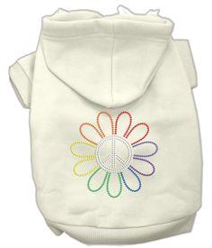 Basic Dog Hoodie (Rhinestone) - Pride Rainbow Peace Flower