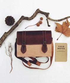 Wooden satchel w/leather flap, handmade by Merve Burma of @gravgrav in Istanbul