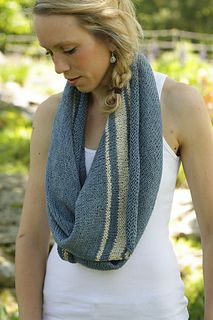 This pattern is available for $1.00 USD  buy it now Essential summer knitting- biased, basic, and blue. A simple wrap that can be worn multiple ways is perfect for picking up and putting down, everywhere you go. It's not something that needs much attention; working on the bias and adding a few stripes keeps it interesting and fun.  6 skeins MC  1 skein CC.