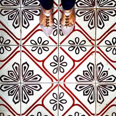 graphic black, white & red floor tile