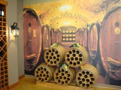 wine barrel mural