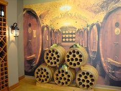wine barrel mural