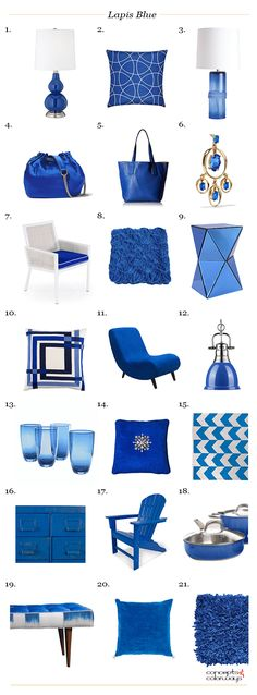 pantone lapis blue, interior product roundup, get the look, interior styling, interior design, bright blue, cobalt blue, sapphire blue, royal blue, electric blue