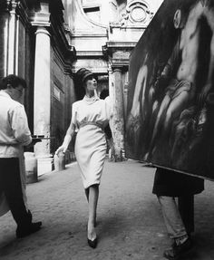 William Klein, Simone & Painting + Coffee, Rome, 1960.