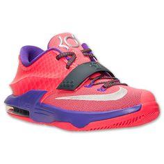 Kids' Grade School Nike KD 7 Basketball Shoes | Finish Line | Hyper Punch/Metallic Silver/Hyper Grape 6 in mens/boys 8 in womens