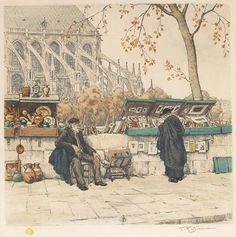 Antiquarian Bookseller at Notre Dame de Paris, 1929, color etching by Tavik Frantisek Simon, 1877-1942, Bohemia (Czech Republic).