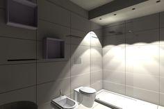 2. Rivestimenti total white per un bagno privo di illuminazione naturale, caratterizzati da superfici morbide al tatto e da finiture opache/satinate, come per il lavabo a libera installazione, i sanitari ed il piatto doccia