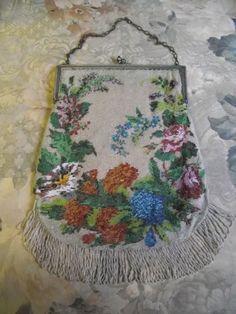 Antique Victorian Micro Beaded Handbag Purse with Flowers | eBay