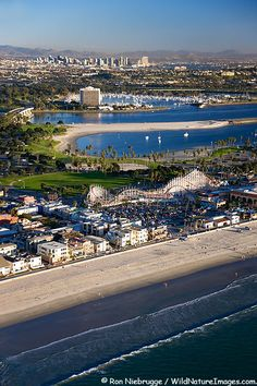 Aerial Photos roller coaster at Mission Beach and Mission Bay, San Diego, California... World's Best Beaches 2013: http://youtu.be/4KAj7Vh0bqo via @YouTube World Travel... http://biguseof.com/travel
