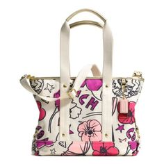 Coach Daisy Flower Print Sateen Kyra Convertible Tote Handbag 17148 Multicolor