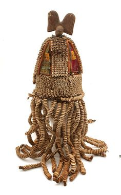 Africa | House of the head ~ ile ori ~ from the Yoruba people of southwest Nigeria | Basketry, shell, wood, leather, metal, textile | 20th century