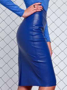 royal blue leather pencil skirt