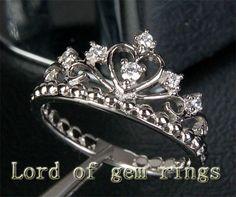 Unique Heart Crown 14K White Gold H/SI Diamond by ThisIsLOGR