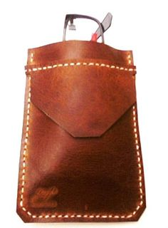 Brown vintage Leather Pocket Protector sleeve small