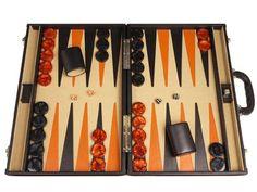 Professional Leather Backgammon Set – 21″ Black/Beige Board | backgammon-boards.com
