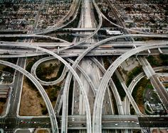 Highway Intersection 105 & 110 Los Angeles, California, USA, 2003 by Edward Burtynsky. The Photographers' Gallery; Exhibitions: The Photographers' Gallery Print Sales; Dangerous Roads, City Of Angels, California Love, Hollywood California, Southern California, Concrete Jungle, London Art, Monument Valley, Backgrounds