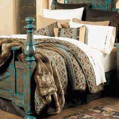 Canyon Crest Bedding Collection    Navajo-patterned fleece in turquoise, brown and tan is complemented by chocolate faux leather and tan matelassé on the richly textured southwestern Canyon Crest Bedding Collection.