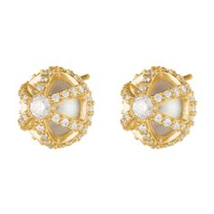 Regal in their appeal, caged freshwater pearls are held in settings of 18-karat yellow gold accented with a half carat of white diamonds.