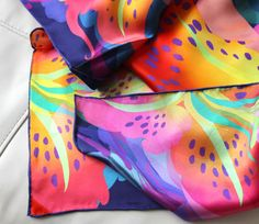 """""""No regrets"""" - Silk scarf, 100% silk classic carré 90cm (36"""" square) by Heartbreak Salon.   Premium silk charmeuse. Hand-rolled edge. Tiger lillies in full bloom. Living your life all-out. #silkscarf #silkscarves #designersilkscarves"""