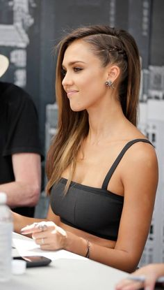 Tight side-braid on Jessica Alba. Non committal thot hair cut