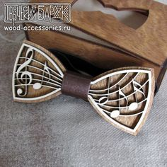Wood bow tie Music, white and brown wooden musical unisex accessory