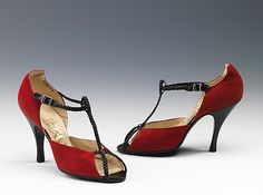 Red and black sandals by Mario Valentino, 1955 (the braided leather is such a lovely touch). #vintage #shoes #1950s