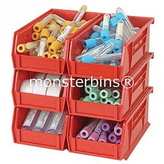 11x4x4 Stacking Bin in Red...  Also available in Blue, Yellow, Black, Green, Ivory and Clear.  Sold in cartons of 12