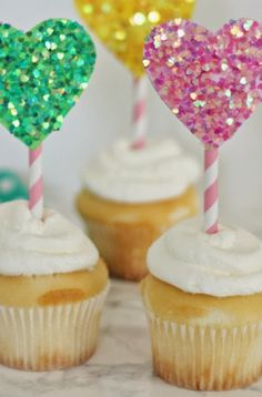 glittered heart cupcake toppers