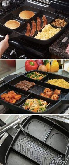 Sartén con 5 compartimentos para cocinar comida diferente al mismo tiempo