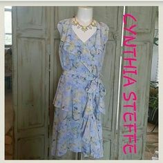 NWT CYNTHIA STEFFE BLUE SUMMER DRESS Nwt.  Ocean blue color. Side zipper.  Fully lined.  Ruffles layer top to bottom.  Comes with sash belt. Cynthia Steffe Dresses