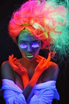 Girl with Neon Hair face & hands art