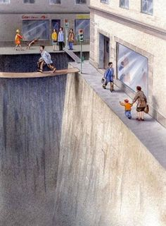 This illustration depicts how much space we give to cars vs. pedestrians in our cities (it would be even worse in our suburbs, of course)