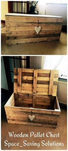 Wooden pallet chest Space-saving solutions Woodwork DIYs Diy … - All For Remodeling İdeas Wood Pallet Crafts, Pallet Ideas, Diy Pallet Projects, Wooden Pallets, Pallet Wood, 1001 Pallets, Kids Woodworking Projects, Wood Projects For Beginners, Diy Woodworking