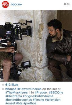 The Musketeers - Series II filming via BBCOne on Instagram (Howard Charles/Porthos)