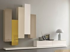 Sectional lacquered storage wall SLIM 5 Slim Collection by Dall'Agnese   design Imago Design, Massimo Rosa