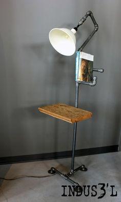 Rustic Industrial Pipe Floor Lamp | Playa Del Carmen Rustic Industrial Lamps & Furniture
