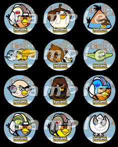 ANGRY BIRDS STAR WARS 25 ROUND STICKERS Angry Birds Star Wars Party Favors