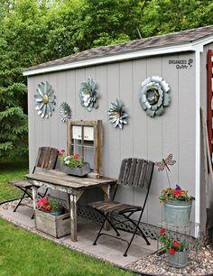 Shed diy - outdoor junk garden shed decor organizedclutter. Garden Junk, Diy Garden, Garden Projects, Garden Art, Garden Ideas, Outdoor Projects, Spring Garden, Smart Garden, Garden Pallet