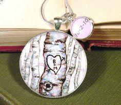 couples initial date necklace custom anniversary jewelry hand painted birch tree pendant. $33.00, via Etsy.