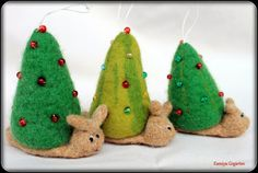 S for Snail: Christmas tree snail needle felted ornaments