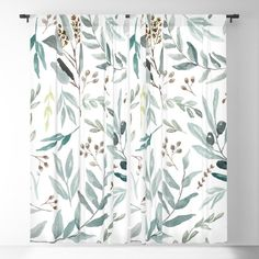 Eucalyptus Pattern Blackout Window Curtains by aniiiz Blackout Windows, Blackout Curtains, Window Curtains, Curtains Living, Shower Curtains, Curtain Fabric, Curtain Rods, Colonial Home Decor, Eucalyptus Shower