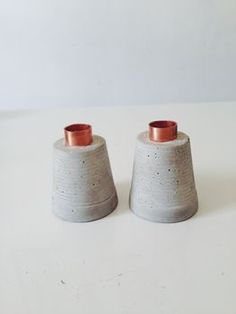 Candle Holders In Cement And Copper