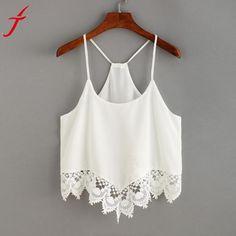 5ba9fbc6028 Chiffon Camis Women Hollow Out Lace Casual O-Neck Sleeveless Spaghetti  Strap Crop Top Vest